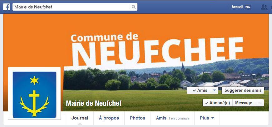 Capture ecran page facebook mairie de Neufchef