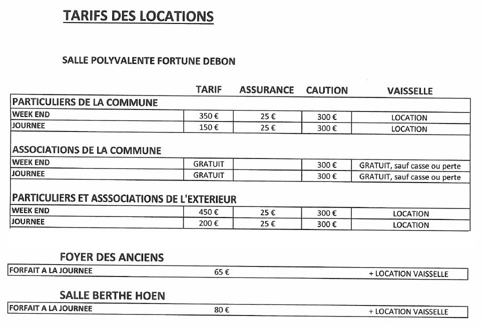 tarifs locations salles