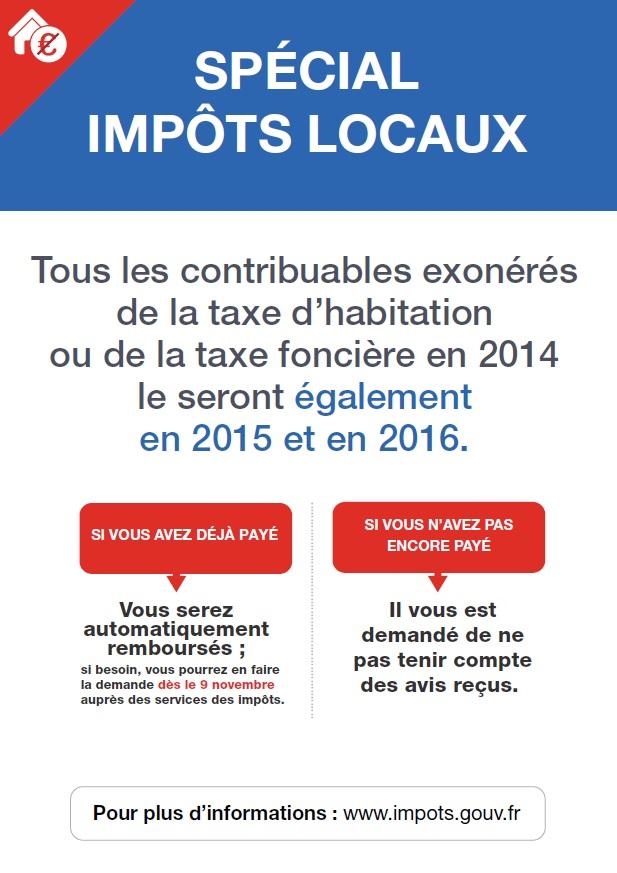 impôts locaux exonération